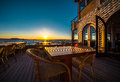 Open air restaurant at sunset Royalty Free Stock Images