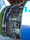 Open airplane engine nacelle Stock Images