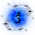 Open ajna chakra line art on blue watercolor background