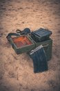 Open ammunition box Royalty Free Stock Photo