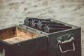 Open ammunition box Royalty Free Stock Photo