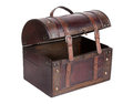 Open bag made ​​of leather and wood Royalty Free Stock Photography