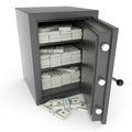 Open bank safe with dollars inside. Royalty Free Stock Photo