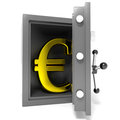 Open bank safe with gold euro sign inside. Royalty Free Stock Photos