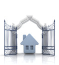 Open baroque gate with blue house illustration Stock Photos