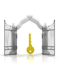 Open baroque gate with golden key illustration Royalty Free Stock Image