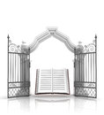 Open baroque gate with holy bible illustration Stock Image
