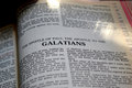 Open bible close up photo study of an book of galatians Royalty Free Stock Photo