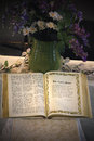 Open bible an opened showing the lords prayer Stock Photos