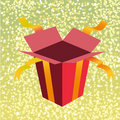 Open birthday giftbox Stock Images