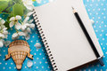 Open blank journal with flowers Royalty Free Stock Photo
