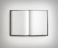 Open blank textbook on light gradient