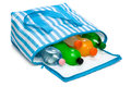 Open blue striped cooler bag with five cool refreshing drinks Royalty Free Stock Photo