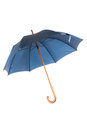 Open blue umbrella isolated on white Stock Photo