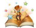An open book with an armed cowboy illustration of on a white background Royalty Free Stock Image