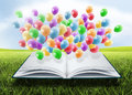 Open book with balloons means fun learning Royalty Free Stock Photos