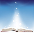 Open book blue background Stock Image