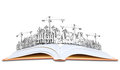 Open book and building construction knowledge of  architecture Royalty Free Stock Photo
