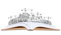 Otevřená kniha a budova konstrukce znalost z
