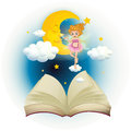 An open book with a cute fairy and a sleeping moon illustration of on white background Stock Photos