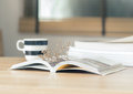 Open book with dried flower on the desk Royalty Free Stock Photo
