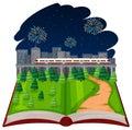Open book firework theme