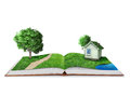 Open book with green Royalty Free Stock Photo