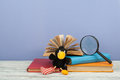 Open book, hardback colorful books on wooden table. Magnifier, toy crow. Back to school. Copy space for text. Education Royalty Free Stock Photo