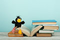 Open book, hardback colorful books on wooden table. Toy crow. Back to school. Copy space for text. Education business Royalty Free Stock Photo