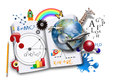 Open book has various math science space concepts coming out school learning concept Stock Photo