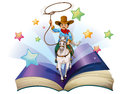 An open book with an image of a cowboy riding on a horse illustration white background Stock Photography