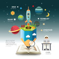 Open book infographic atmosphere pencil with rocket vector. Royalty Free Stock Photo