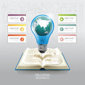Open book infographic education world light bulb vector Royalty Free Stock Photo
