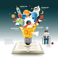 Open book infographic innovation idea on light bulb vector. Royalty Free Stock Photo