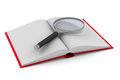 Open book and magnifier on white background. Isolated 3D