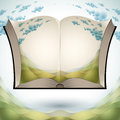 Open book with nature landscape. Stock Photos