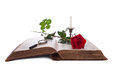 Open book, red rose, magnifying glass and candle Stock Images