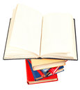 Open book on top of stack of books blank isolated white background Stock Images