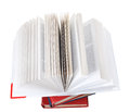Open book on top of stack of books isolated white background Stock Photos