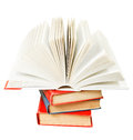 Open book on top of stack of books isolated white background Royalty Free Stock Photos