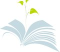 Open book with tree sprout symbol of ecological education Royalty Free Stock Image