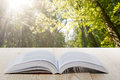 Open book on wooden table on natural blurred background Royalty Free Stock Photo