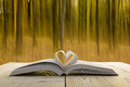 Open book at wooden table on natural blurred Royalty Free Stock Photo