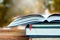 Open books and blur nature background. Royalty Free Stock Photo