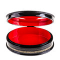 Open box a black laquered with a bright red interior isolated over white Royalty Free Stock Photo