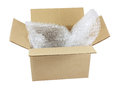 Open box with bubble wrap Royalty Free Stock Photo