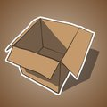 Open box with white outline cartoon vector illustration this is file of eps format Stock Photos