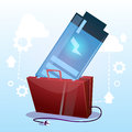 Open Briefcase With Low Battery Business Energy Concept Royalty Free Stock Photo