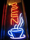 Open Cafe Neon Sign Stock Photo