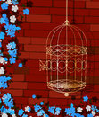 Open cage background illustration of a golden bird and flowers Stock Photography